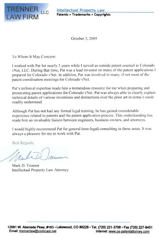 Mark Trenner reference letter